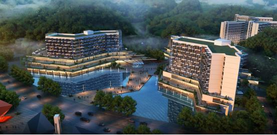 总平面空间构成图 红枫谷康养中心位于康乐小镇靠近主城区的核心区域,建设中的城市环道二环西段上,占地总面积606亩,其中路东占地面积约242亩,路西占地面积约364亩。  康养中心鸟瞰图  康养中心核心地块鸟瞰图 在建筑风格的整体设计上,坚持使用,经济,美观的基本原则,坚持现代,简洁,大方,优雅的基本理念,将建筑形体原则上处理为折线形,以便能更好地适应山地的地形地貌,多层建筑的裙楼部分采用了层层退台的手法,随形就势,依山而筑,不仅使建筑能与山体更为有机地融为一体,而且还可大大减少土石方的开挖和回填量,降低